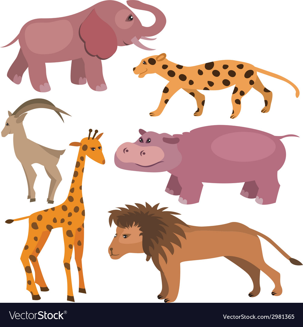 Set with funny tropic animals vector | Price: 1 Credit (USD $1)