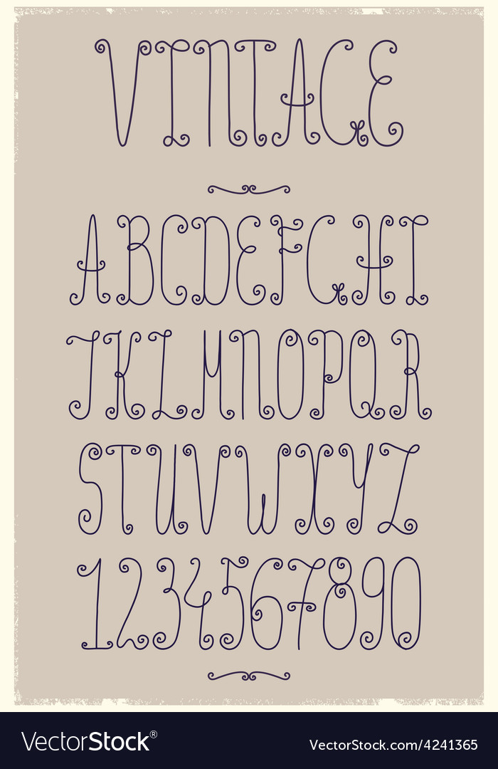 Vintage handwriting font vector | Price: 1 Credit (USD $1)