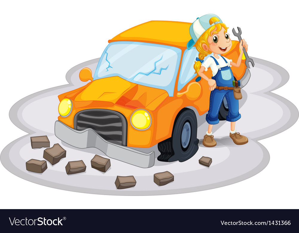 A young girl fixing an orange car vector | Price: 1 Credit (USD $1)
