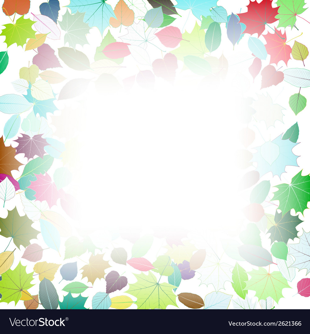 Autumn multicolor leaves frame template vector   Price: 1 Credit (USD $1)