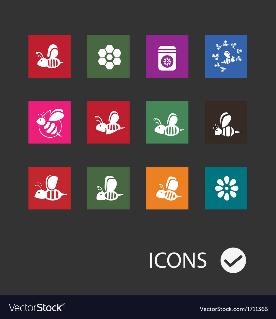 Bee icons vector | Price: 1 Credit (USD $1)