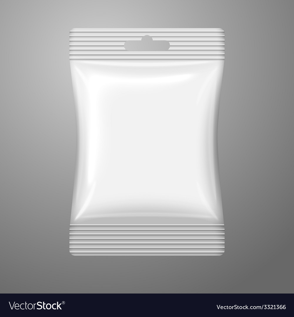 Blank white plastic sachet with hanging hole on vector | Price: 1 Credit (USD $1)