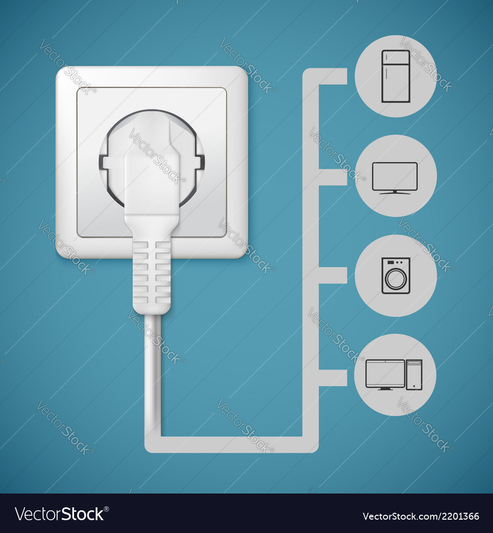 Electrical plug closeup vector | Price: 1 Credit (USD $1)