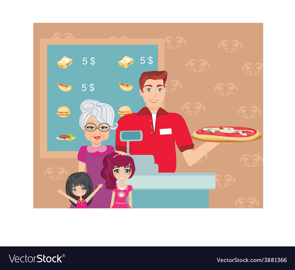 Family dinner at the bar vector | Price: 1 Credit (USD $1)