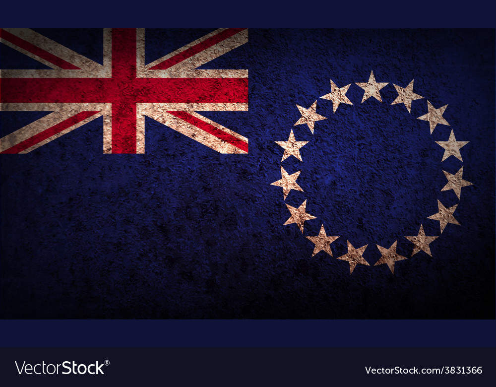 Flag of cook islands with old texture vector   Price: 1 Credit (USD $1)