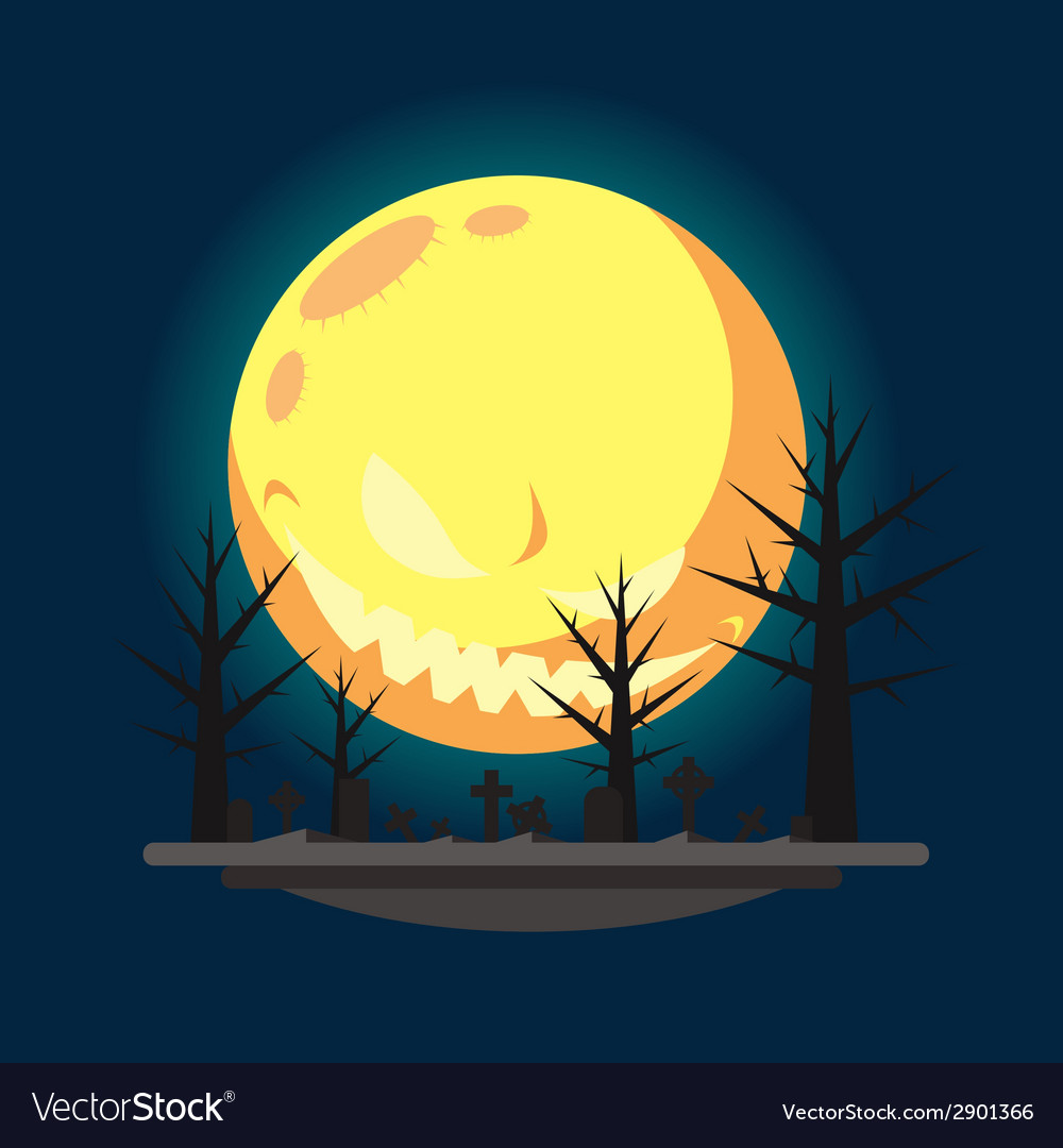 Flat design halloween graveyard vector | Price: 1 Credit (USD $1)