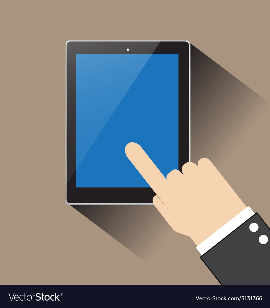 Hand of businessman touching blank screen table vector | Price: 1 Credit (USD $1)