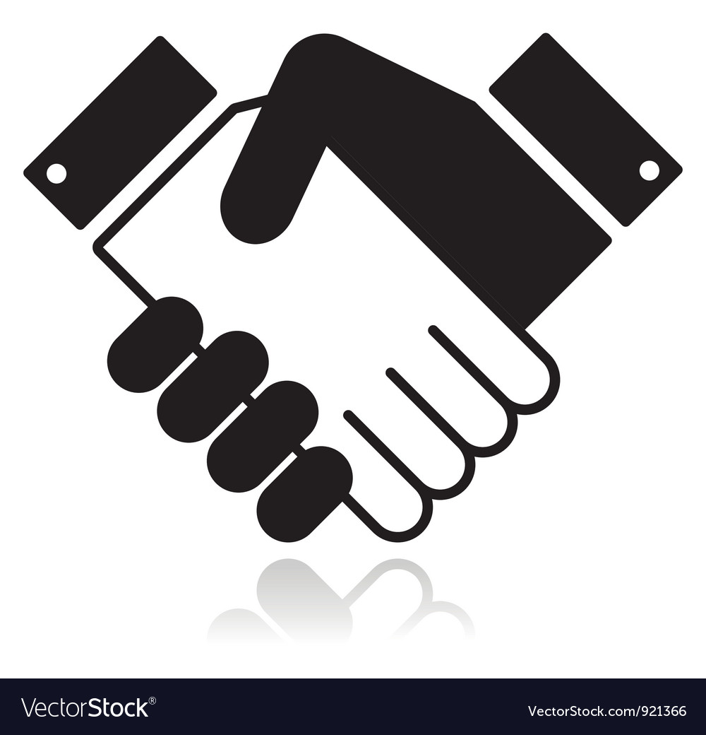 Handshake glossy black icon vector | Price: 1 Credit (USD $1)