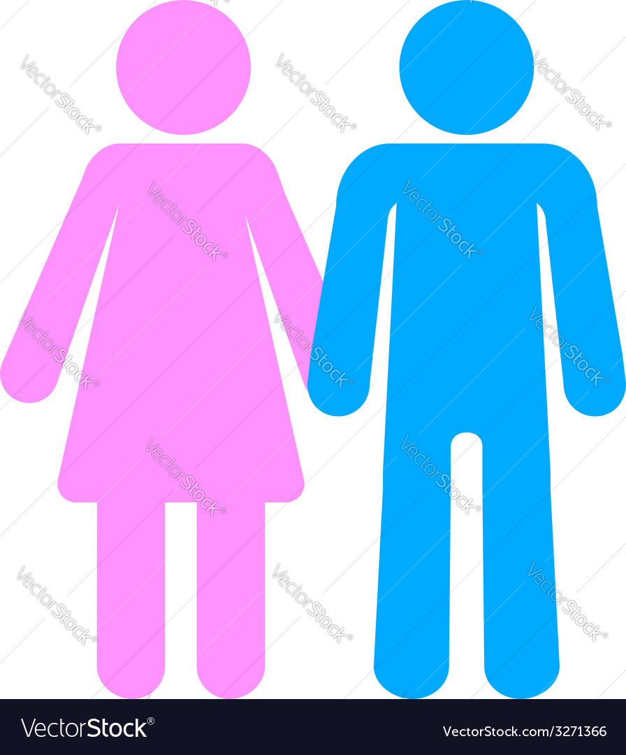 Man and woman pink blue toilet silhouettes vector | Price: 1 Credit (USD $1)
