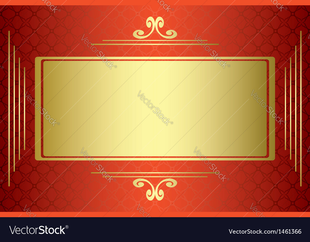Red and gold card with gold frame vector | Price: 1 Credit (USD $1)