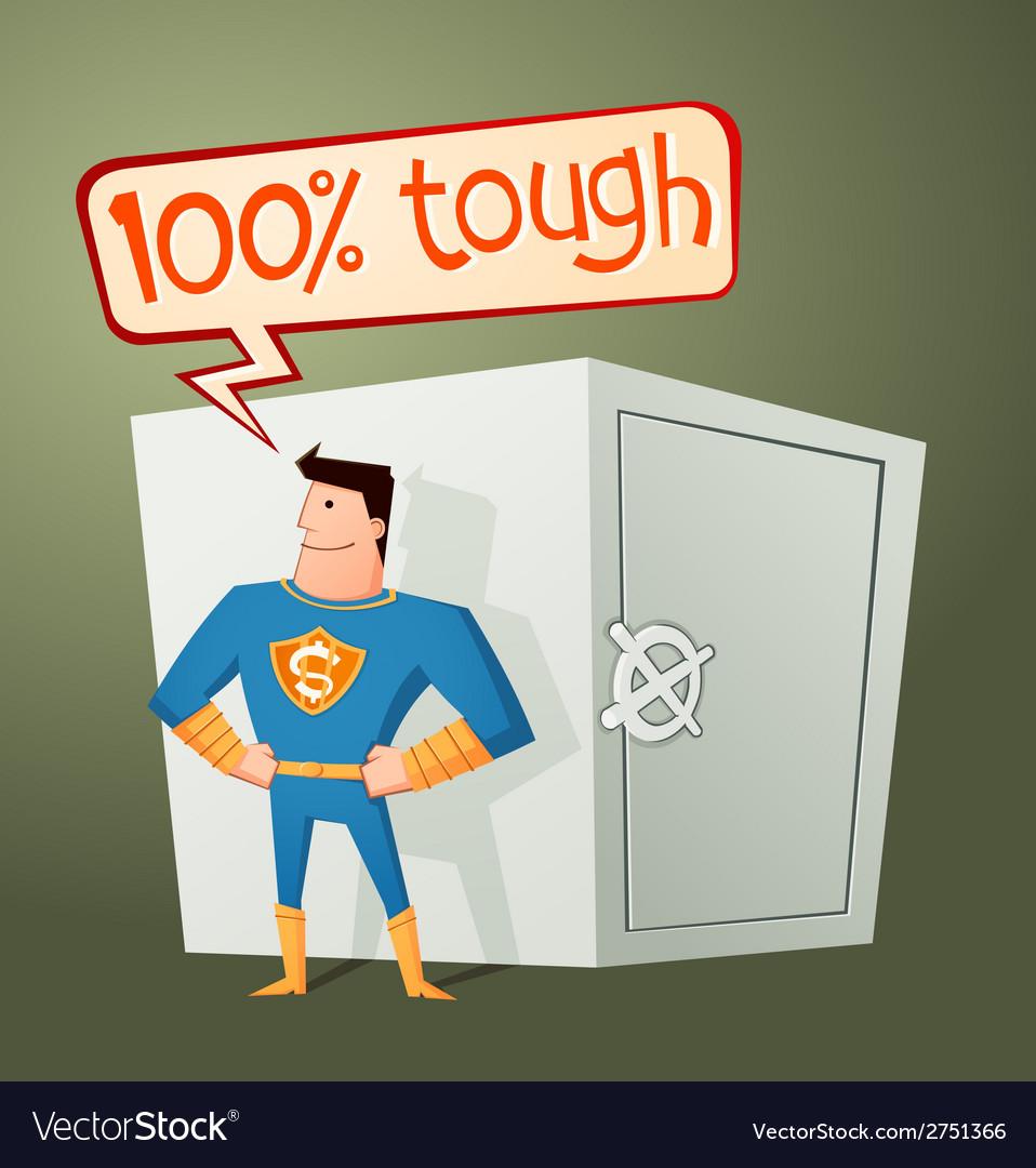 Superhero guarding a deposit box vector | Price: 1 Credit (USD $1)