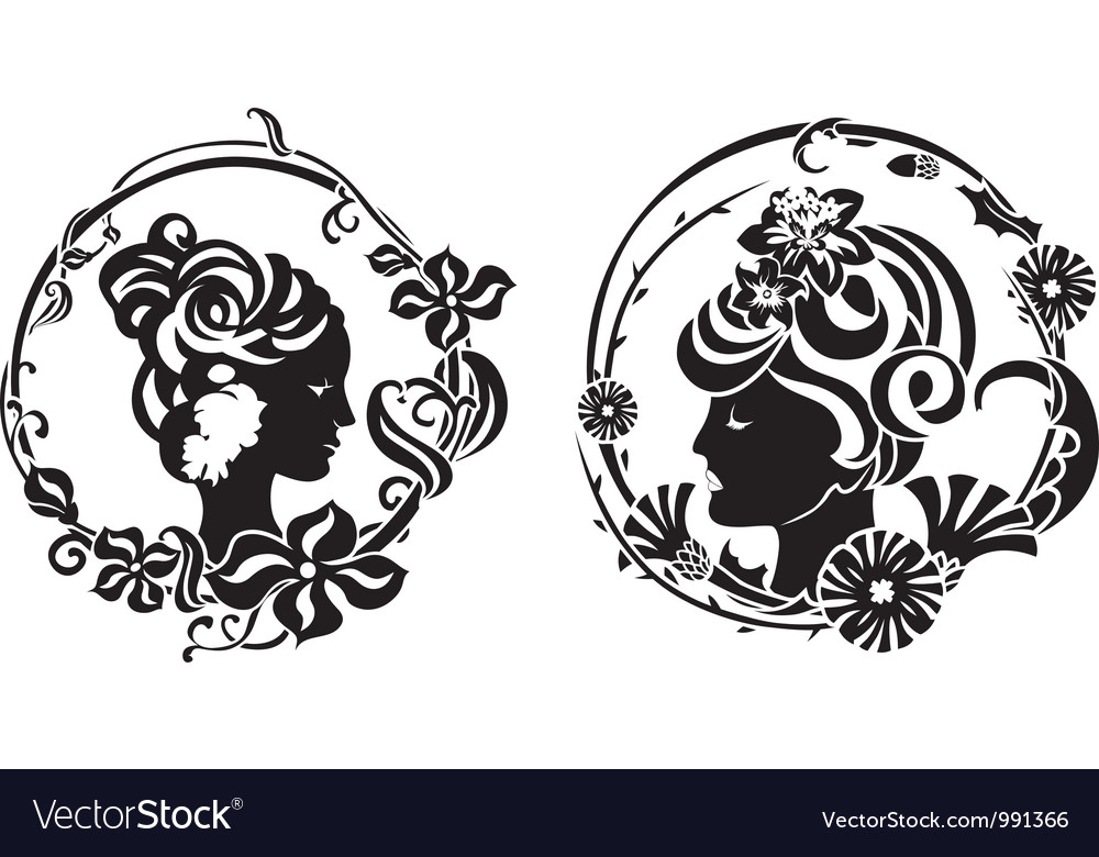 Vignette retro female profile vector | Price: 1 Credit (USD $1)