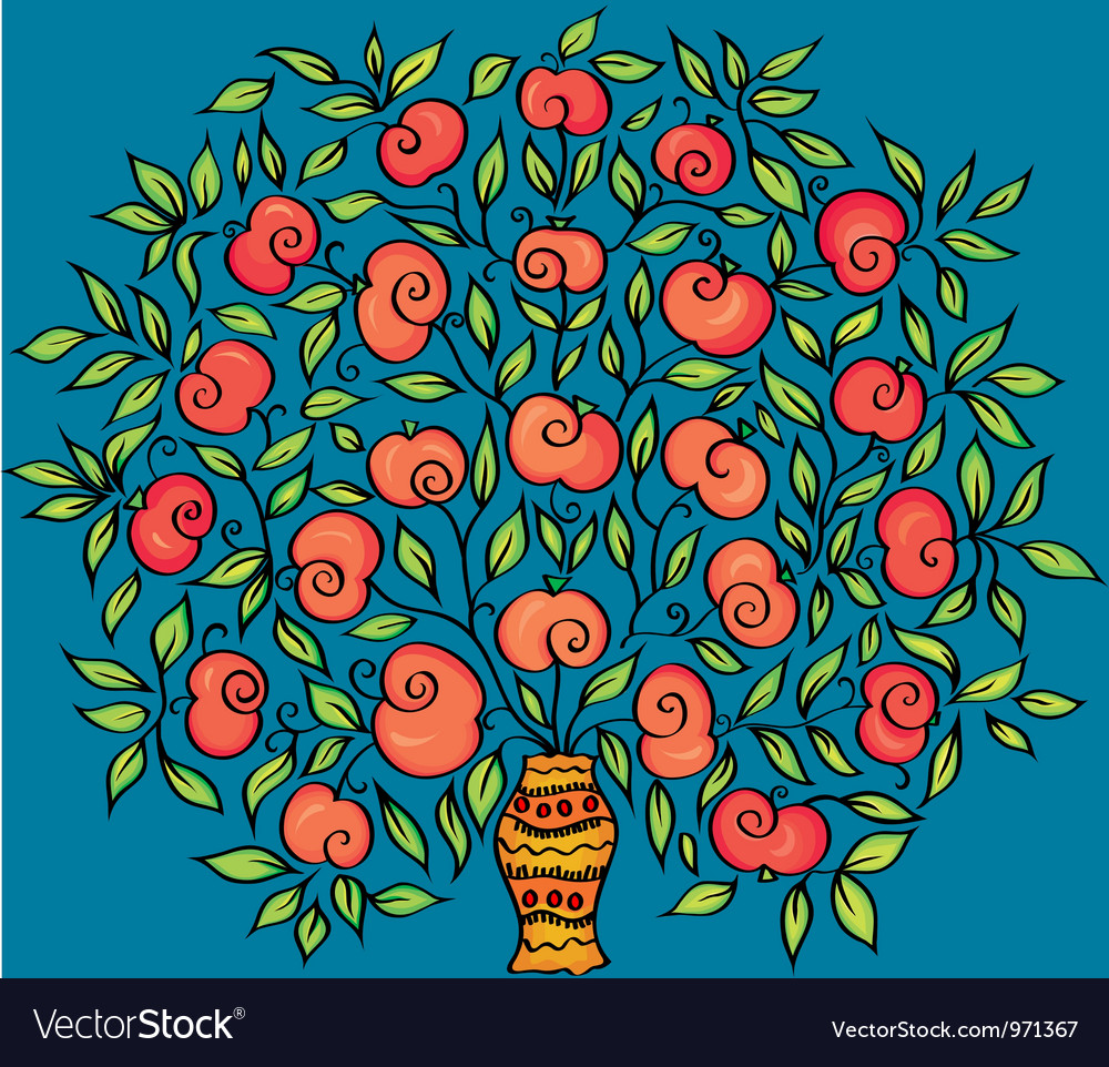 Apple twig in a vase vector | Price: 1 Credit (USD $1)