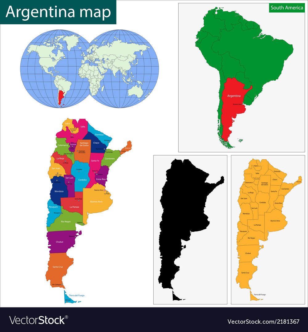 Argentina map vector | Price: 1 Credit (USD $1)