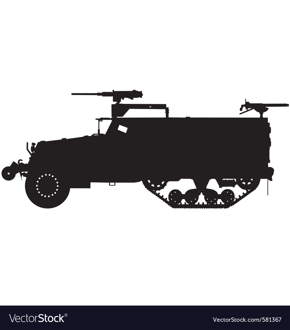 Armoured halftrack silhouette vector | Price: 1 Credit (USD $1)