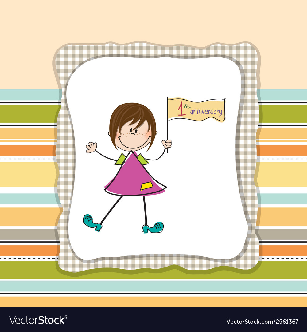 Cute little girl at first anniversary vector | Price: 1 Credit (USD $1)