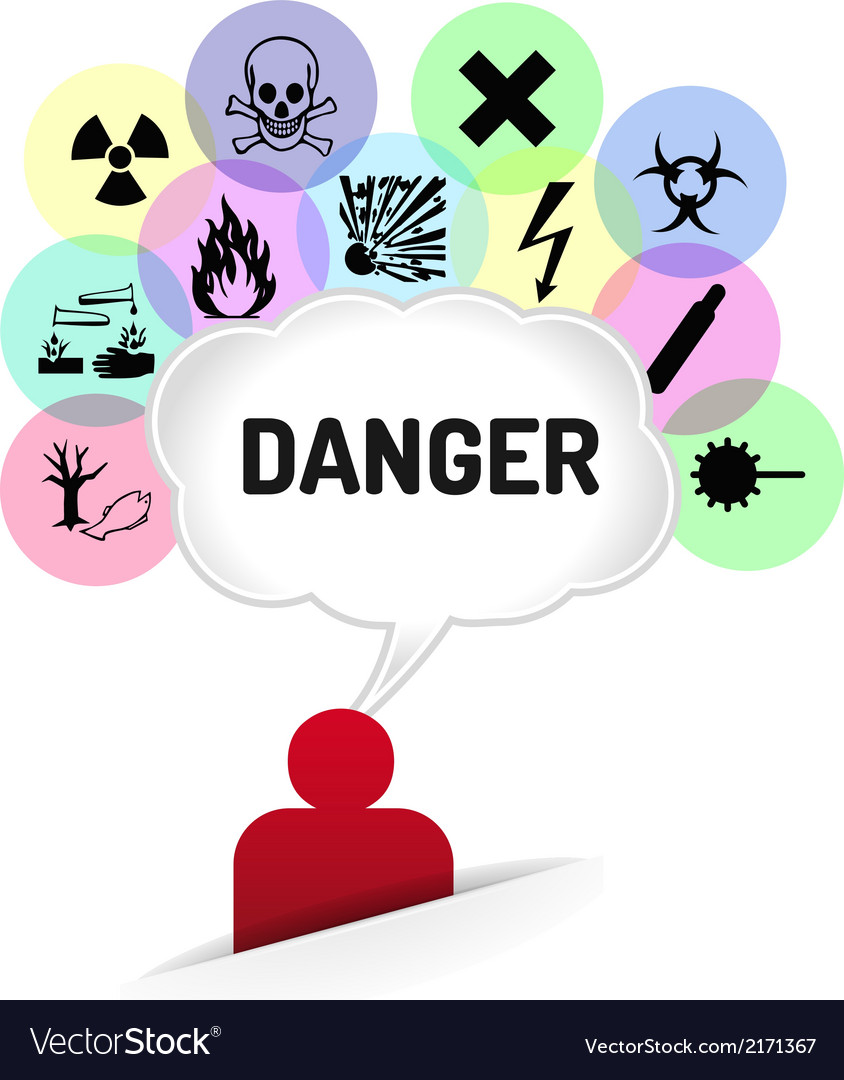 Danger sign thinking man vector | Price: 1 Credit (USD $1)