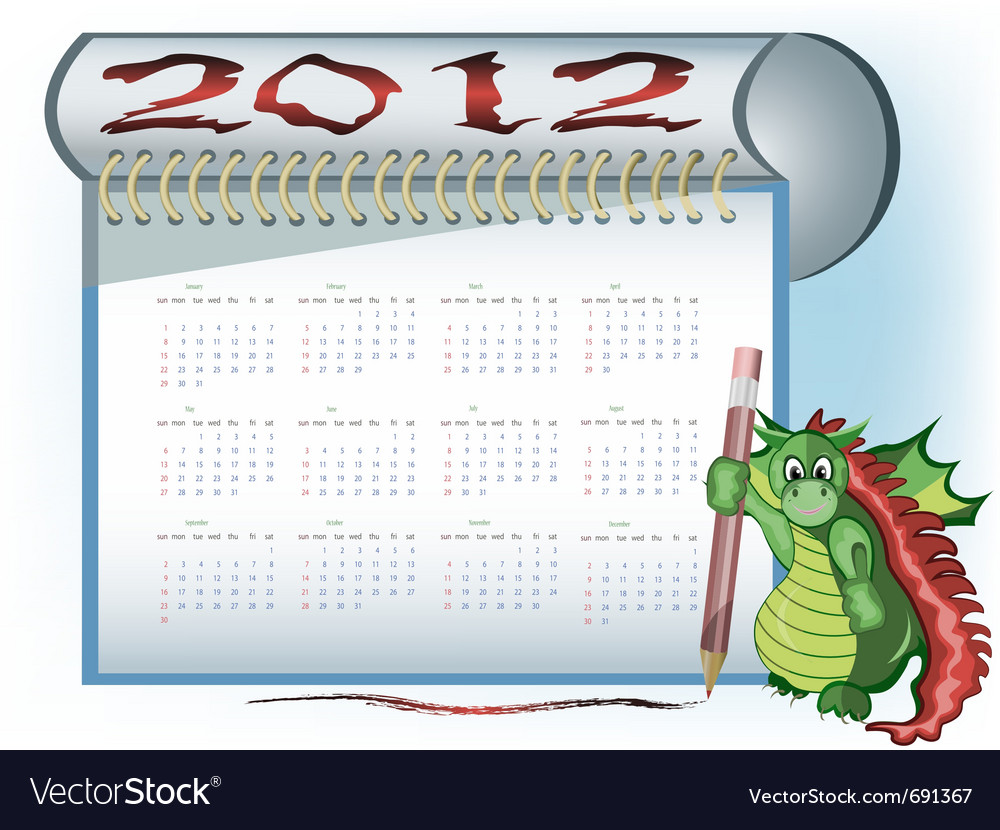 Dragon 2012 calendar vector | Price: 1 Credit (USD $1)