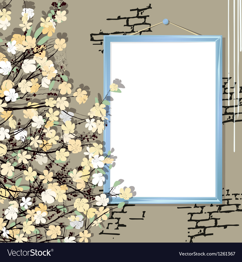 Empty frame with flowers vector | Price: 1 Credit (USD $1)