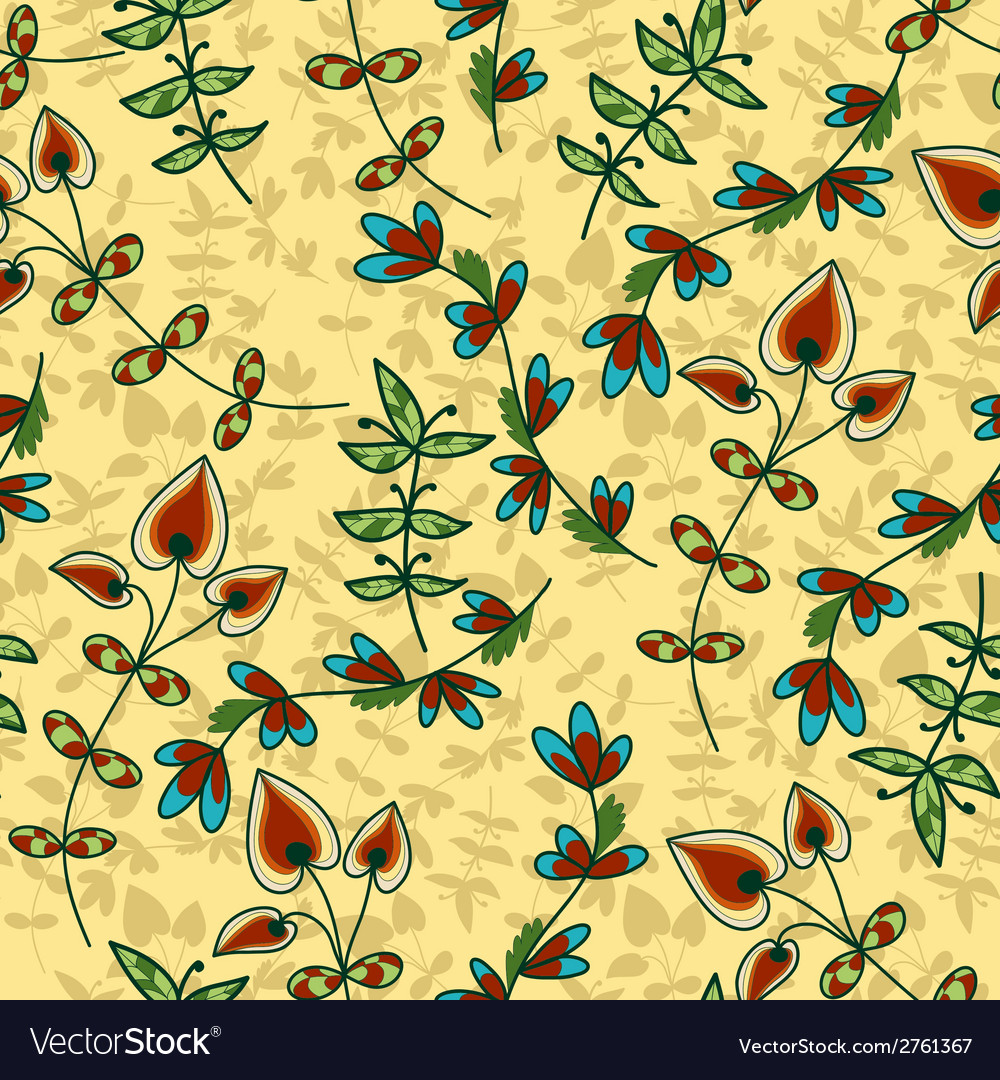 Flower bud leaves seamless vector | Price: 1 Credit (USD $1)
