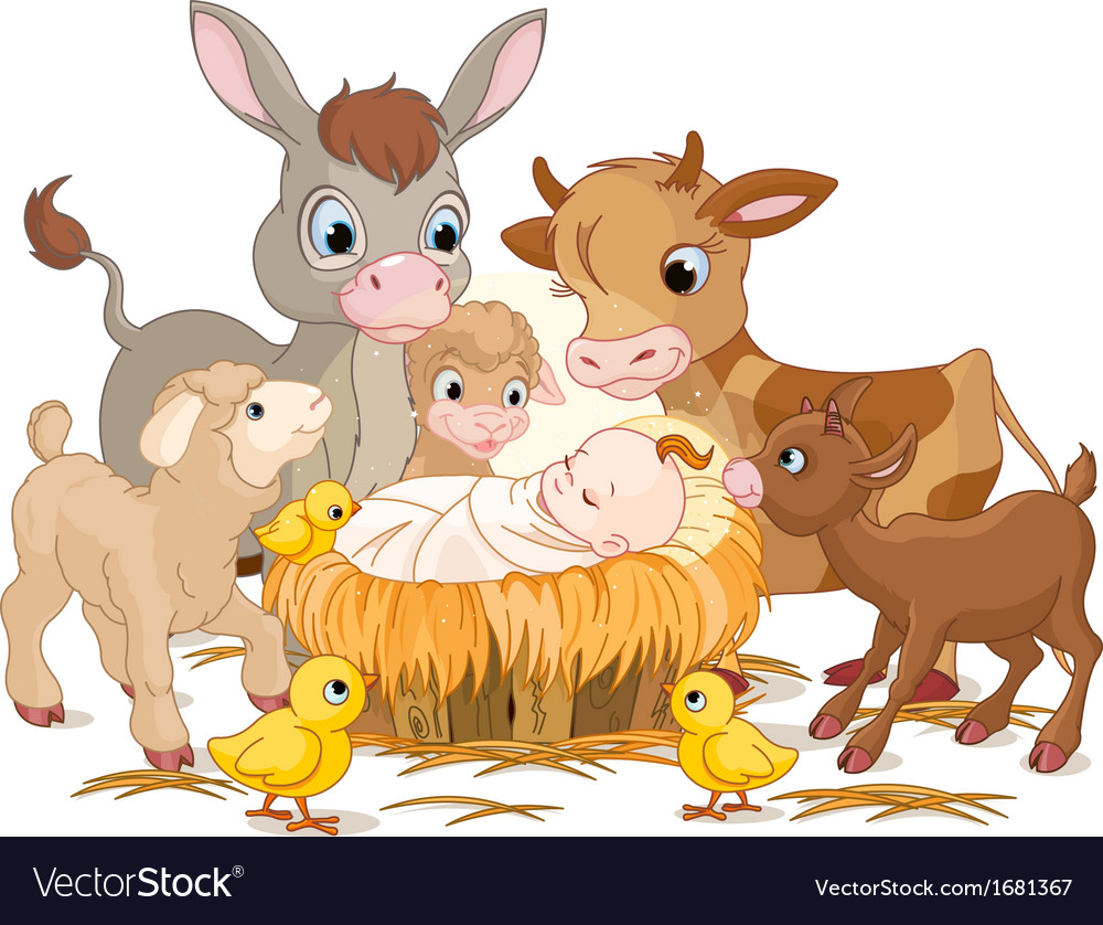 Holy child with animals vector | Price: 1 Credit (USD $1)