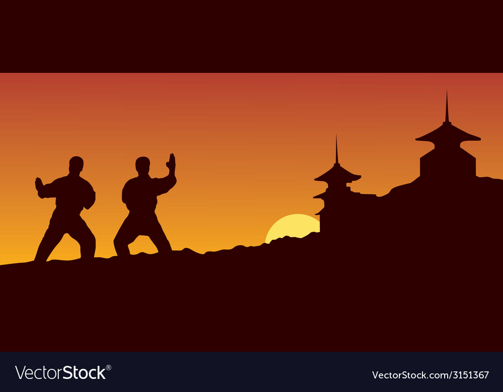 Men are engaged in karate on a yellow background vector | Price: 1 Credit (USD $1)