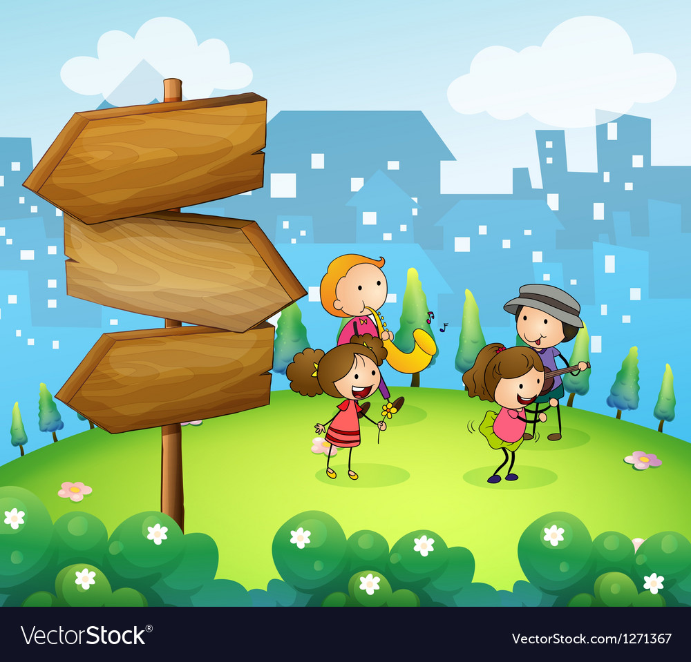 Musicians performing near the wooden arrowboards vector | Price: 1 Credit (USD $1)