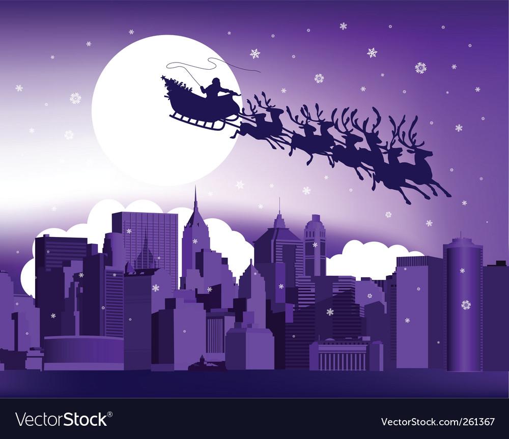Santa in the city vector | Price: 1 Credit (USD $1)