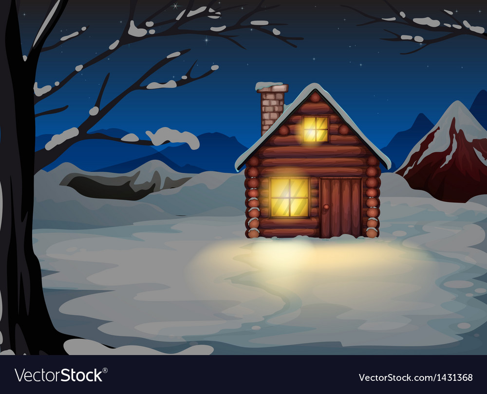 A lighted log house at the snowy land vector | Price: 1 Credit (USD $1)