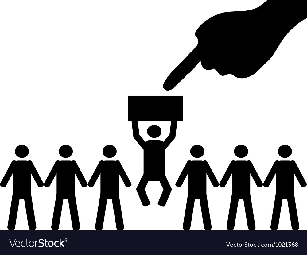 A person is selected from a group for employment vector | Price: 1 Credit (USD $1)