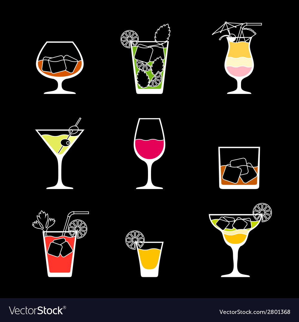 Alcohol drinks and cocktails icon set in flat vector | Price: 1 Credit (USD $1)
