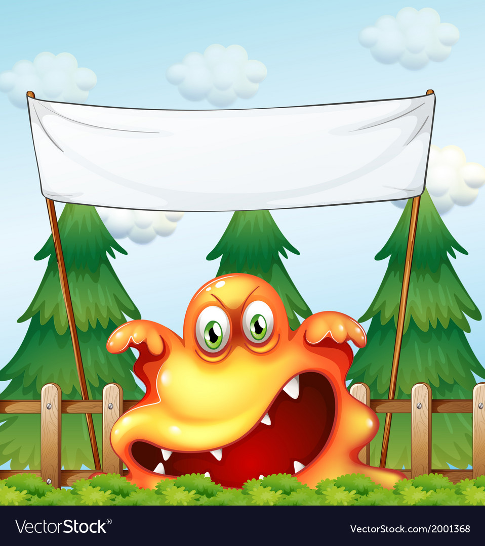 An angry monster below the empty banner vector | Price: 3 Credit (USD $3)