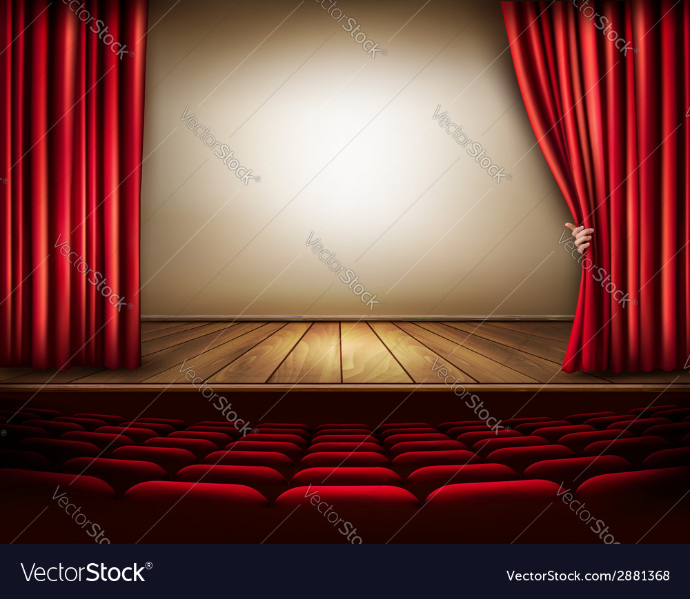 Background with red velvet curtain and hand vector | Price: 3 Credit (USD $3)