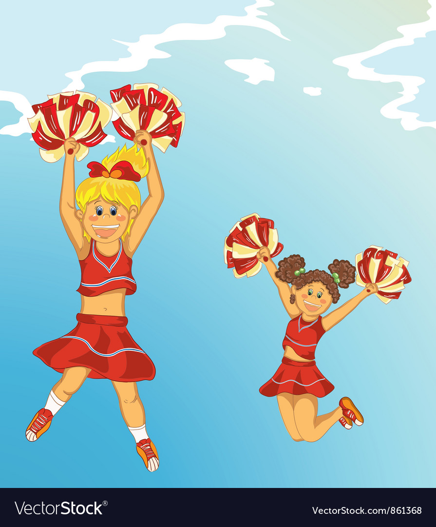 Cartoon background with cheerleaders vector | Price: 1 Credit (USD $1)