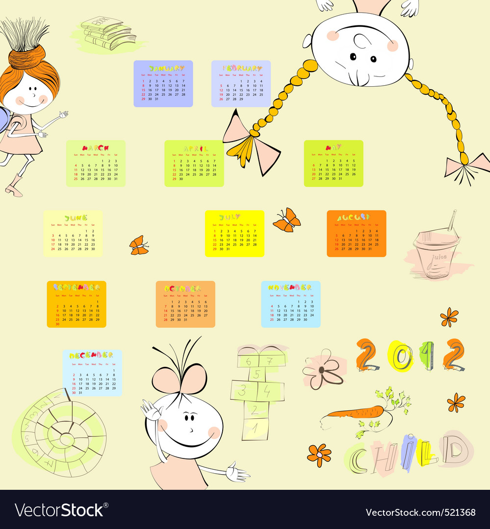 Cartoon style calendar 2012 vector | Price: 1 Credit (USD $1)