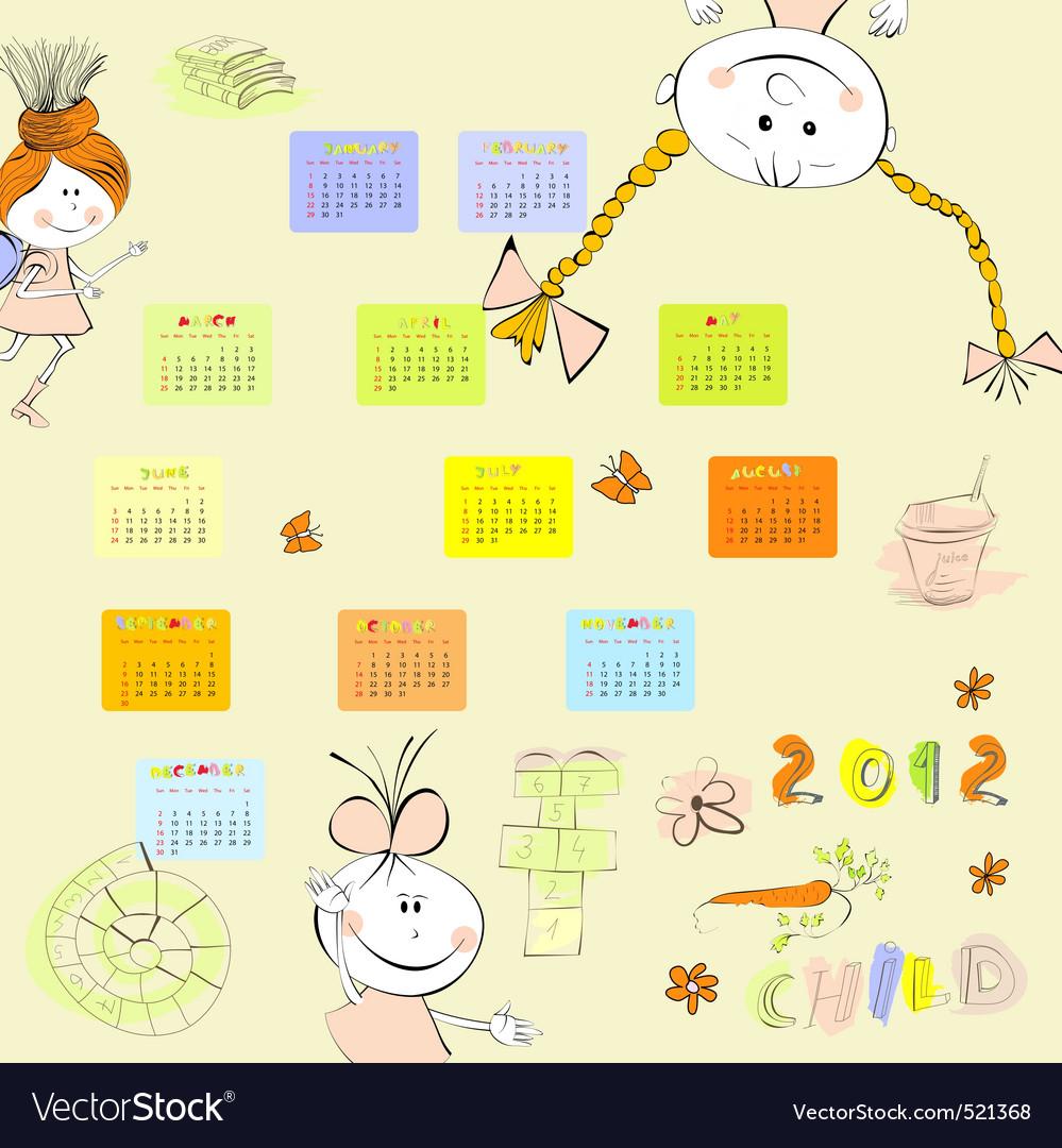 Cartoon style calendar 2012 vector | Price: 1 Credit (USD $1)