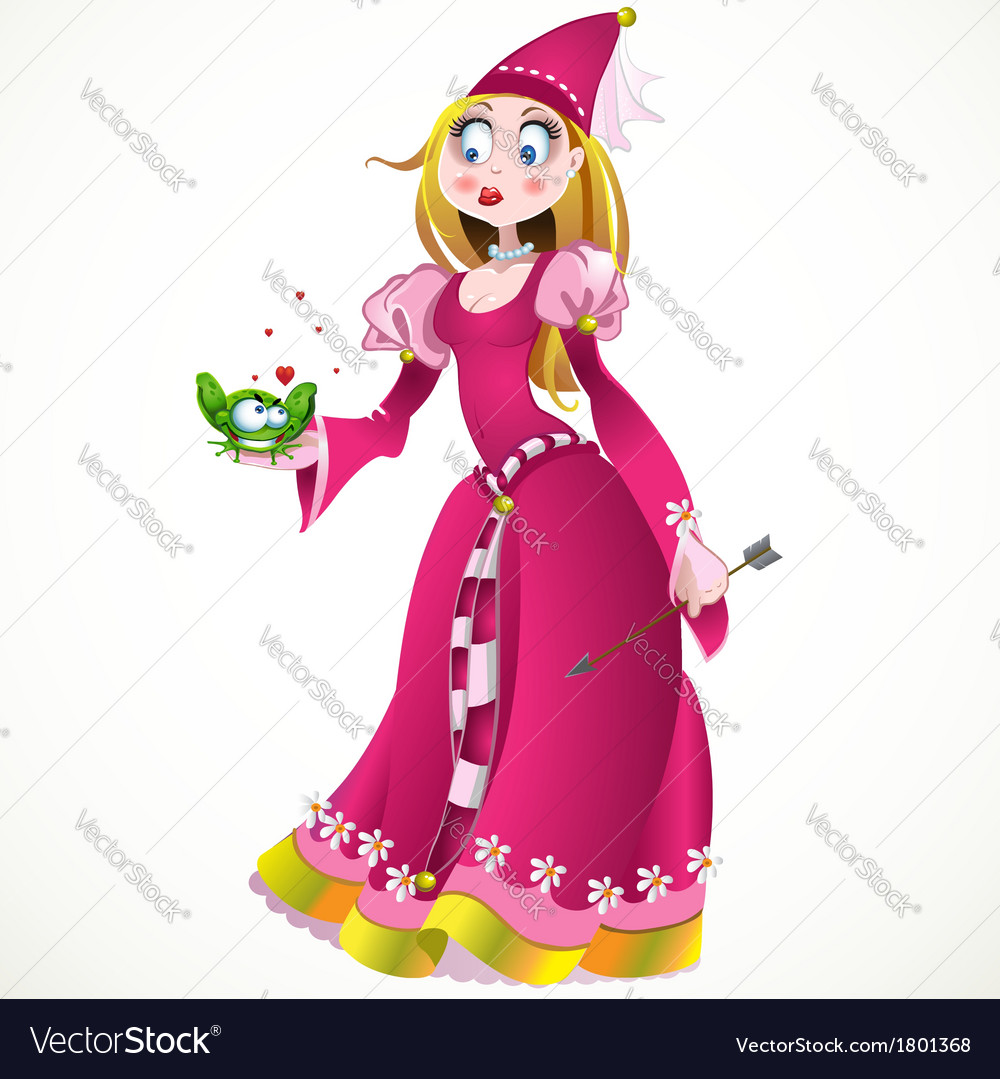 Charming princess holding a frog vector | Price: 3 Credit (USD $3)