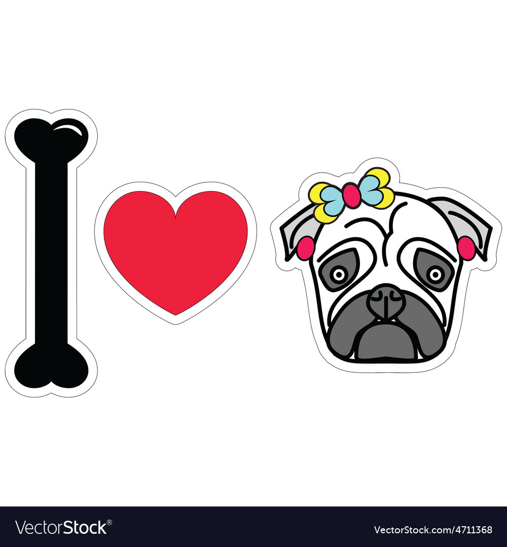 I love pug female pug with earings and a bow vector | Price: 1 Credit (USD $1)
