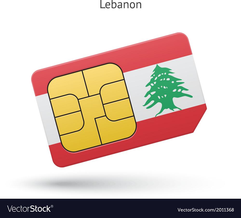 Lebanon mobile phone sim card with flag vector | Price: 1 Credit (USD $1)
