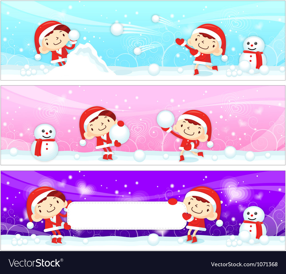 Snowball play couples snowman mascot vector | Price: 3 Credit (USD $3)