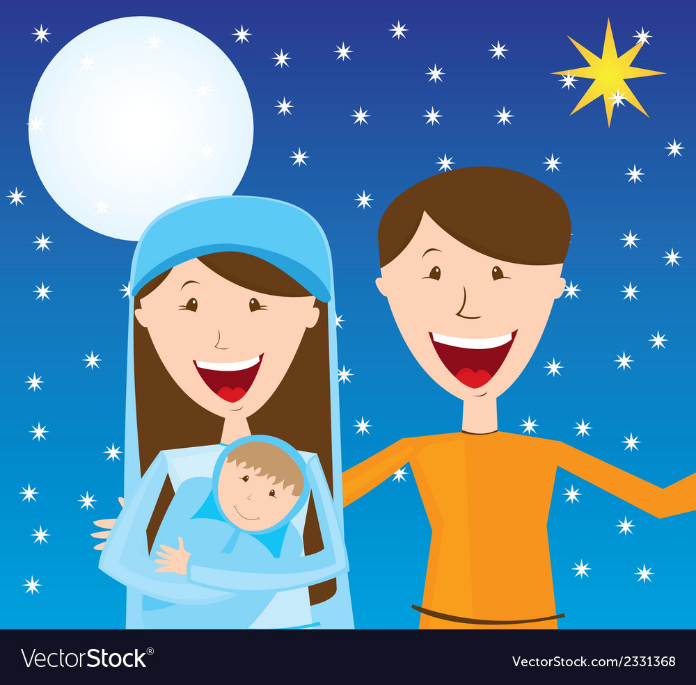 Virgin mary st joseph and baby jesus over night vector | Price: 1 Credit (USD $1)