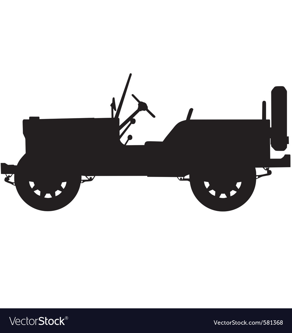 World war two military jeep silhouette vector | Price: 1 Credit (USD $1)