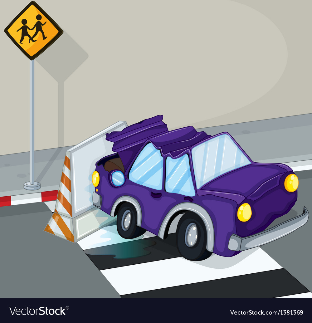 A violet car having an accident at the road vector | Price: 1 Credit (USD $1)