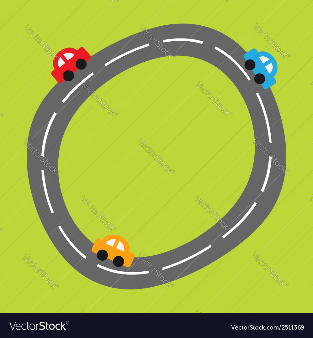 Background with curve round road and cartoon cars vector | Price: 1 Credit (USD $1)