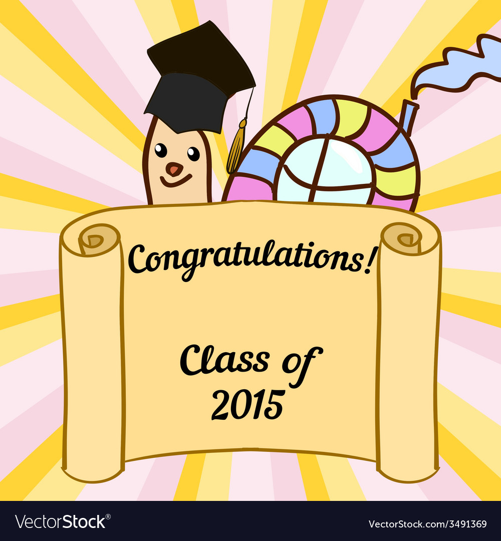 Greeting card with a character and congratulations vector | Price: 1 Credit (USD $1)