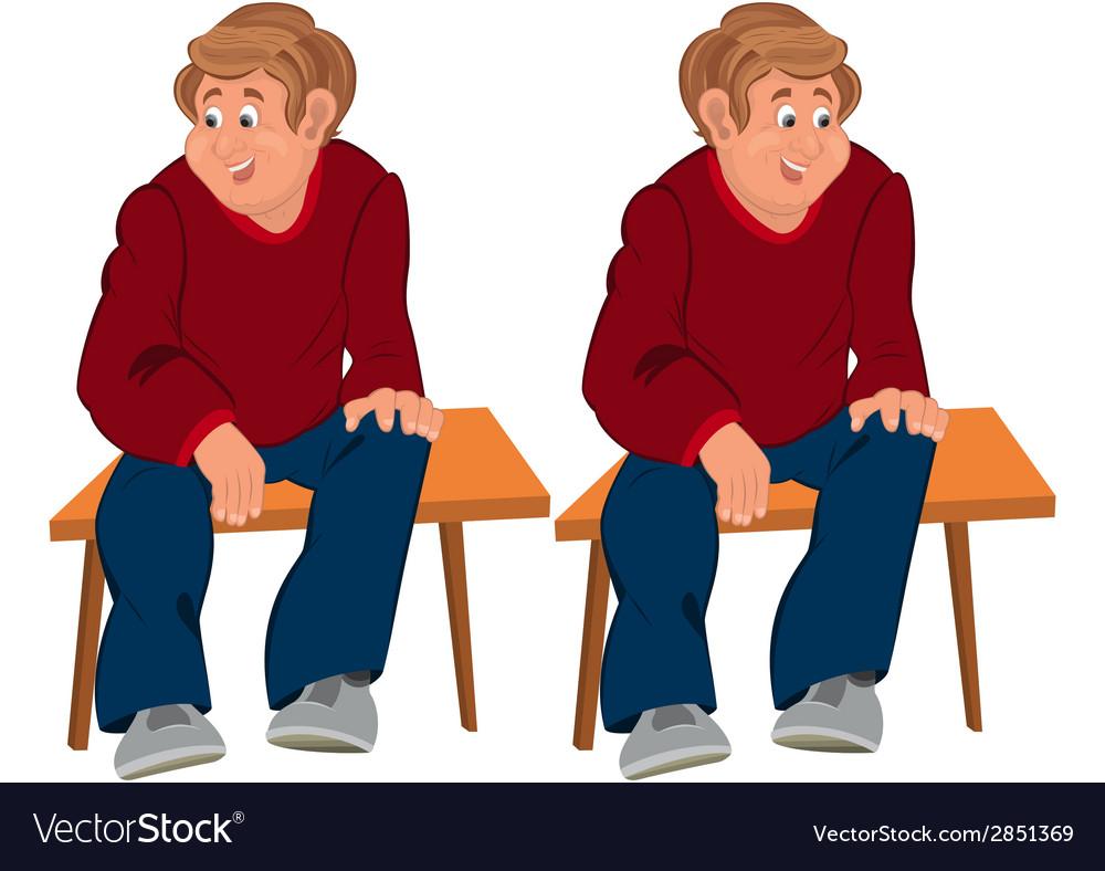 Happy cartoon man sitting on brown bench vector   Price: 1 Credit (USD $1)