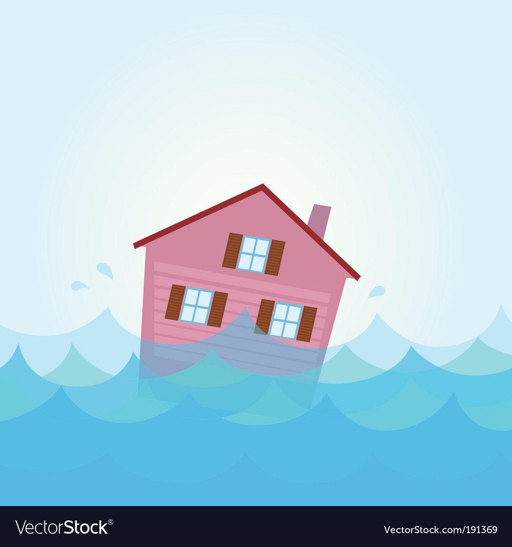 House flood vector | Price: 1 Credit (USD $1)