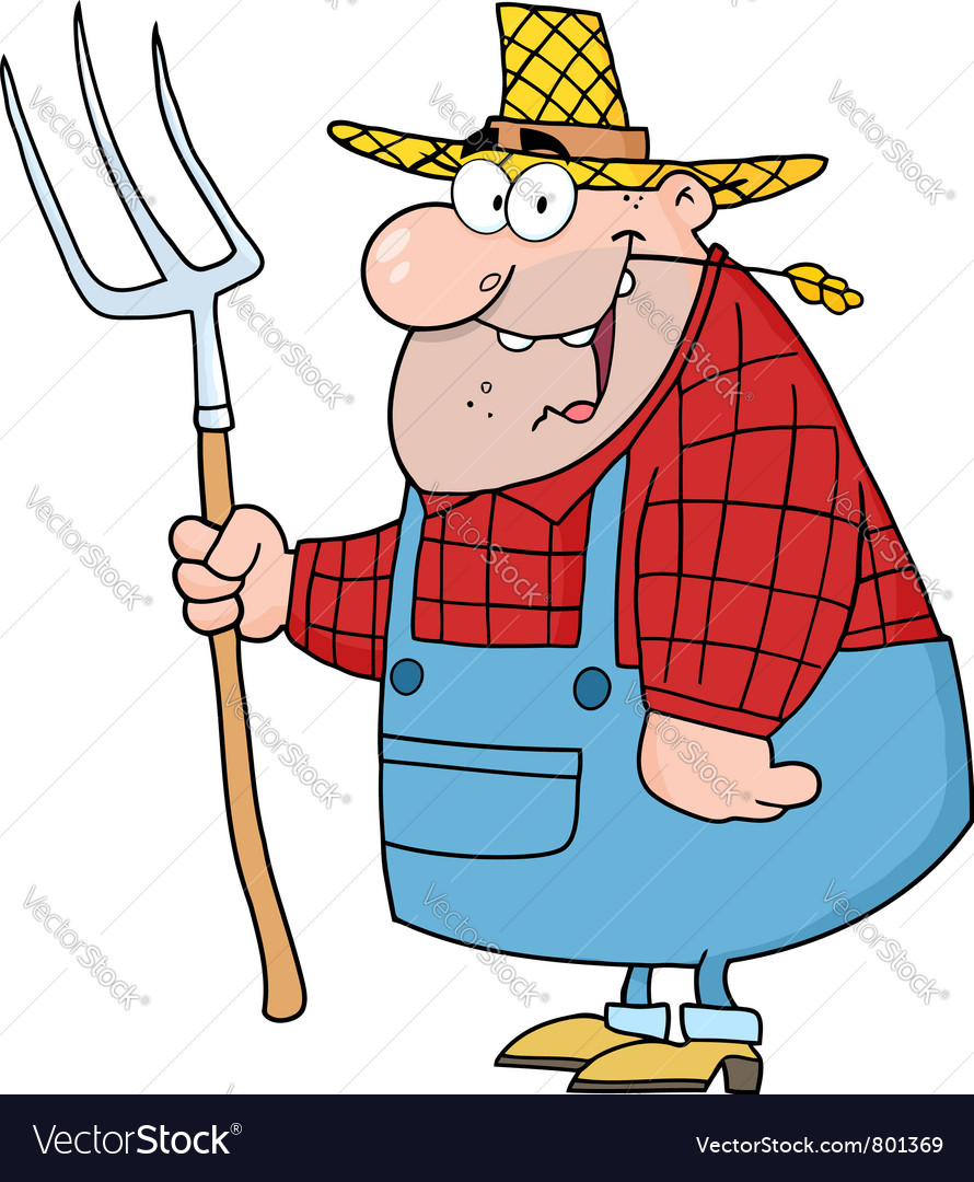 Lucky farmer man carrying a rake vector | Price: 1 Credit (USD $1)