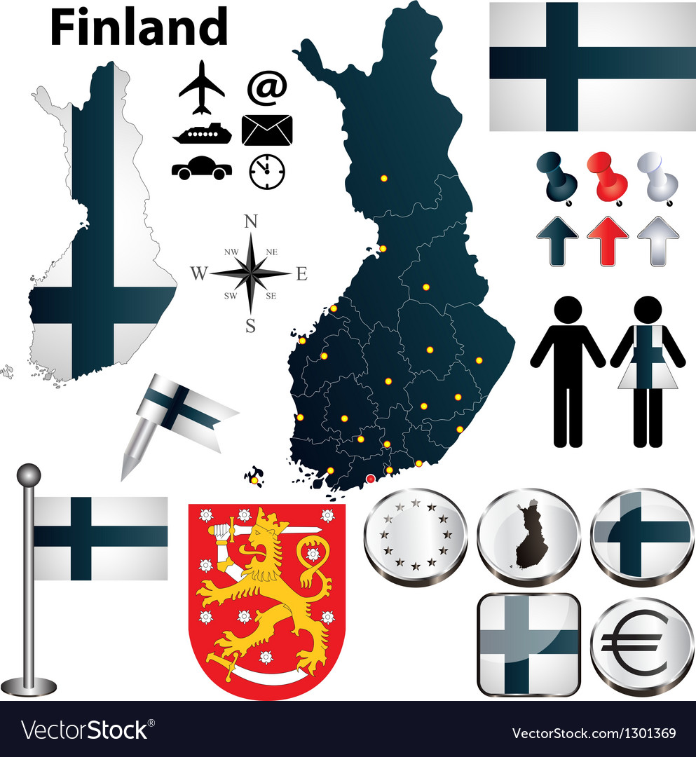 Map of finland with regions vector   Price: 1 Credit (USD $1)