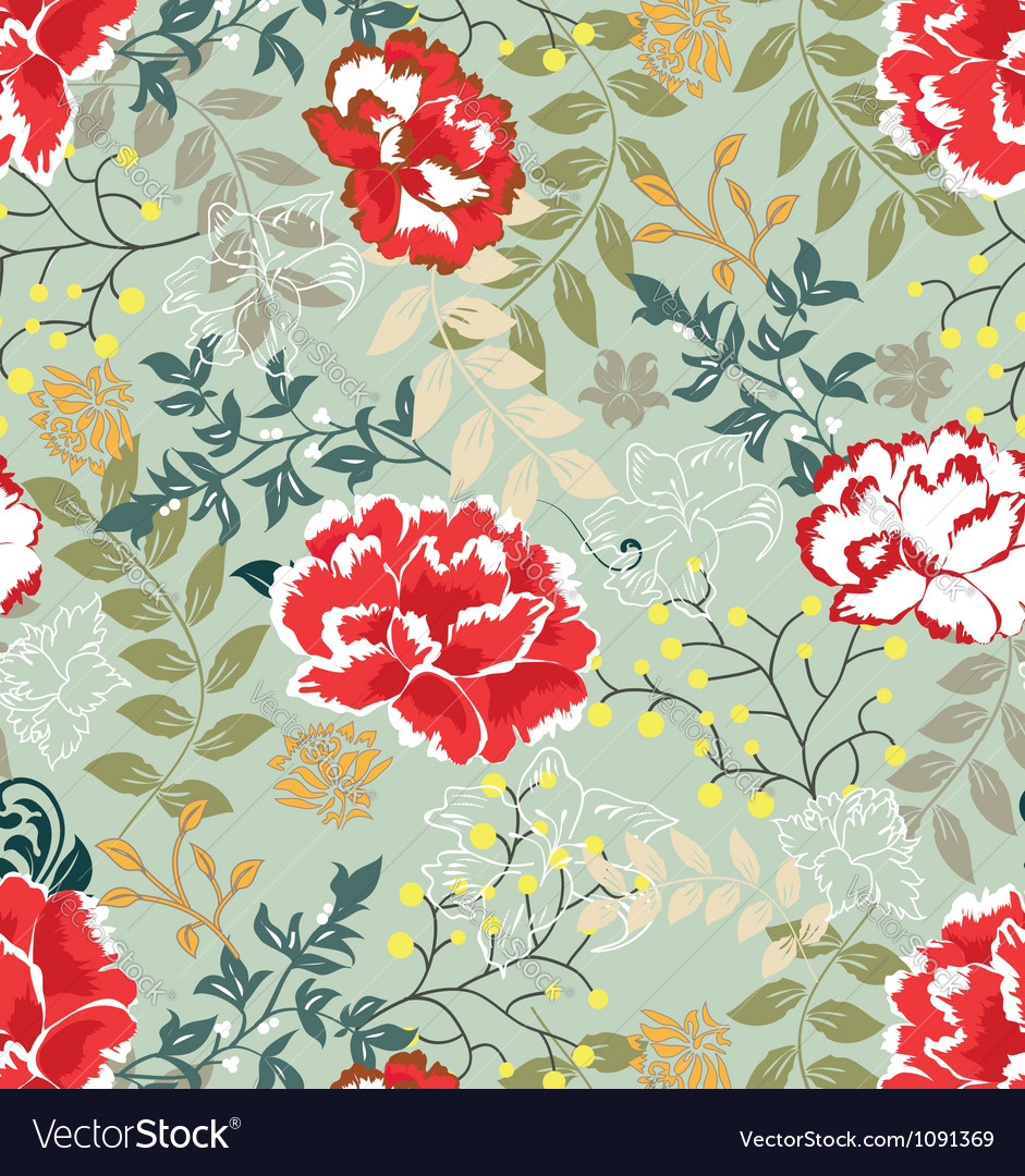 Retro floral seamless backgroundpattern vector | Price: 1 Credit (USD $1)